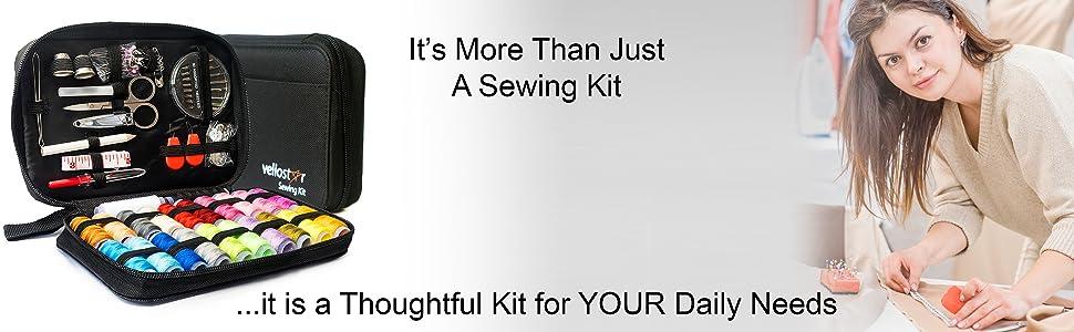 Vellostar travel emergency sewing kit, kits, sewing thread kit, mending repairs
