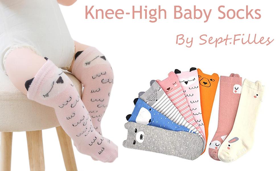 38e35be46 Sept.Filles Infant toddler Baby Anti-Slip Knee High Long Socks 6 ...