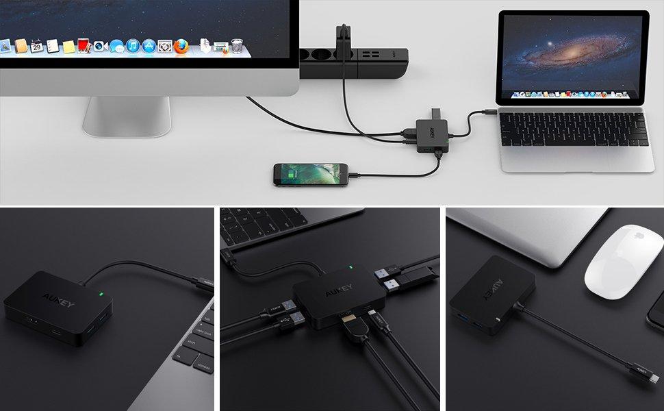 AUKEY USB C Hub with 4K HDMI, 4 USB 3.0 Ports, Type C ...