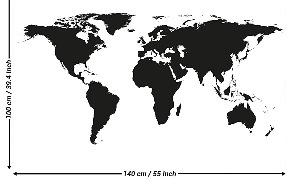 XXL Poster world map black and white wall picture decoration map continents  map of the world globe Earth world geography wall decor by GREAT ART (55 ...
