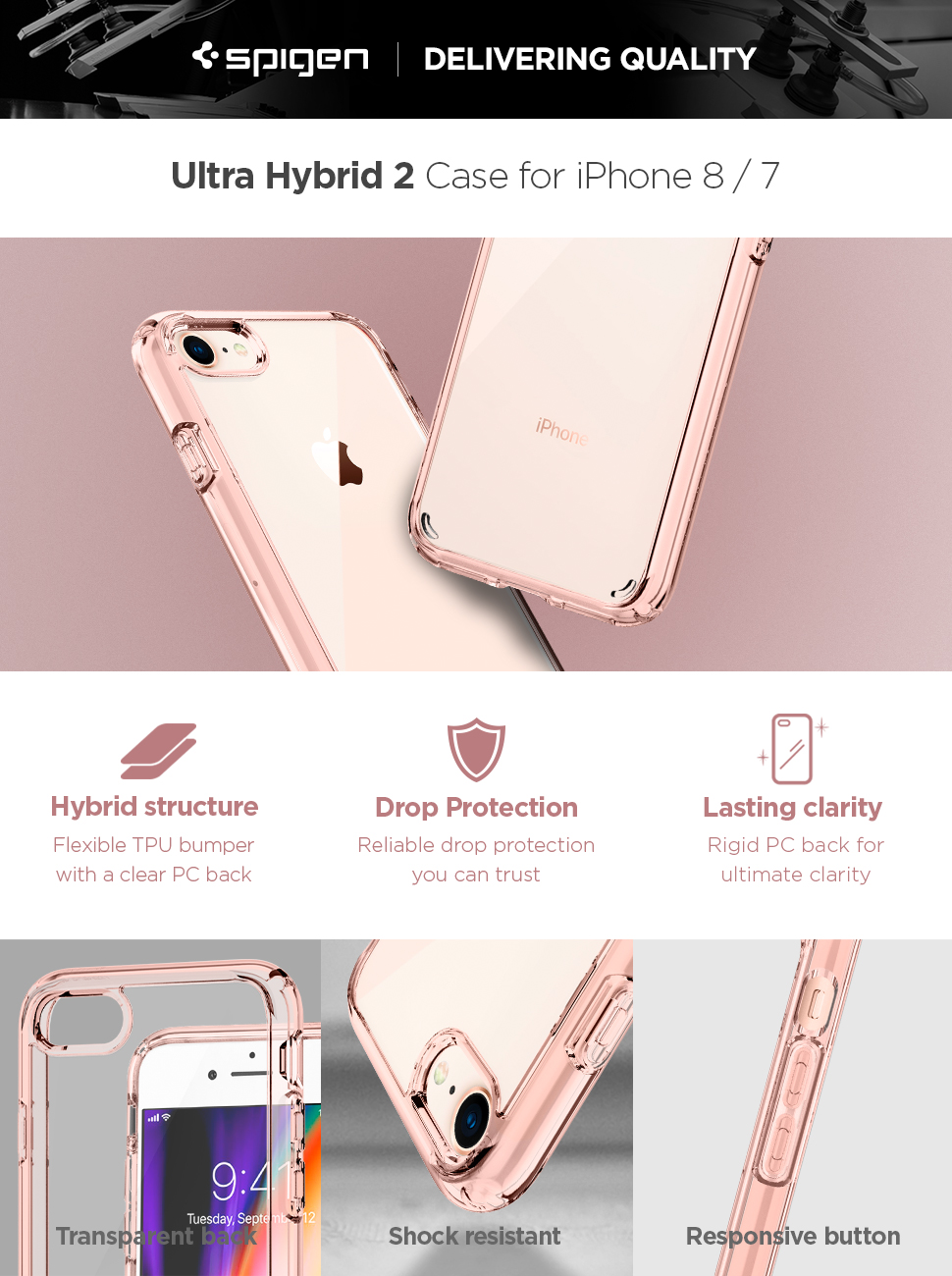 brand new b3f08 585b5 iPhone 8 Case, iPhone 7 Case, Spigen Ultra Hybrid [2nd Generation] -  Reinforced Camera Protection Clear Case for Apple iPhone 7 (2016) / Apple  iPhone ...