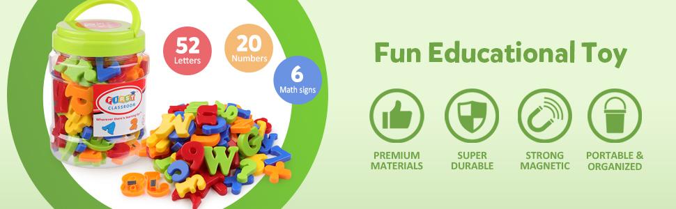 Coogam Magnetic Letters Numbers Alphabet Fridge Magnets Colorful Plastic ABC 123