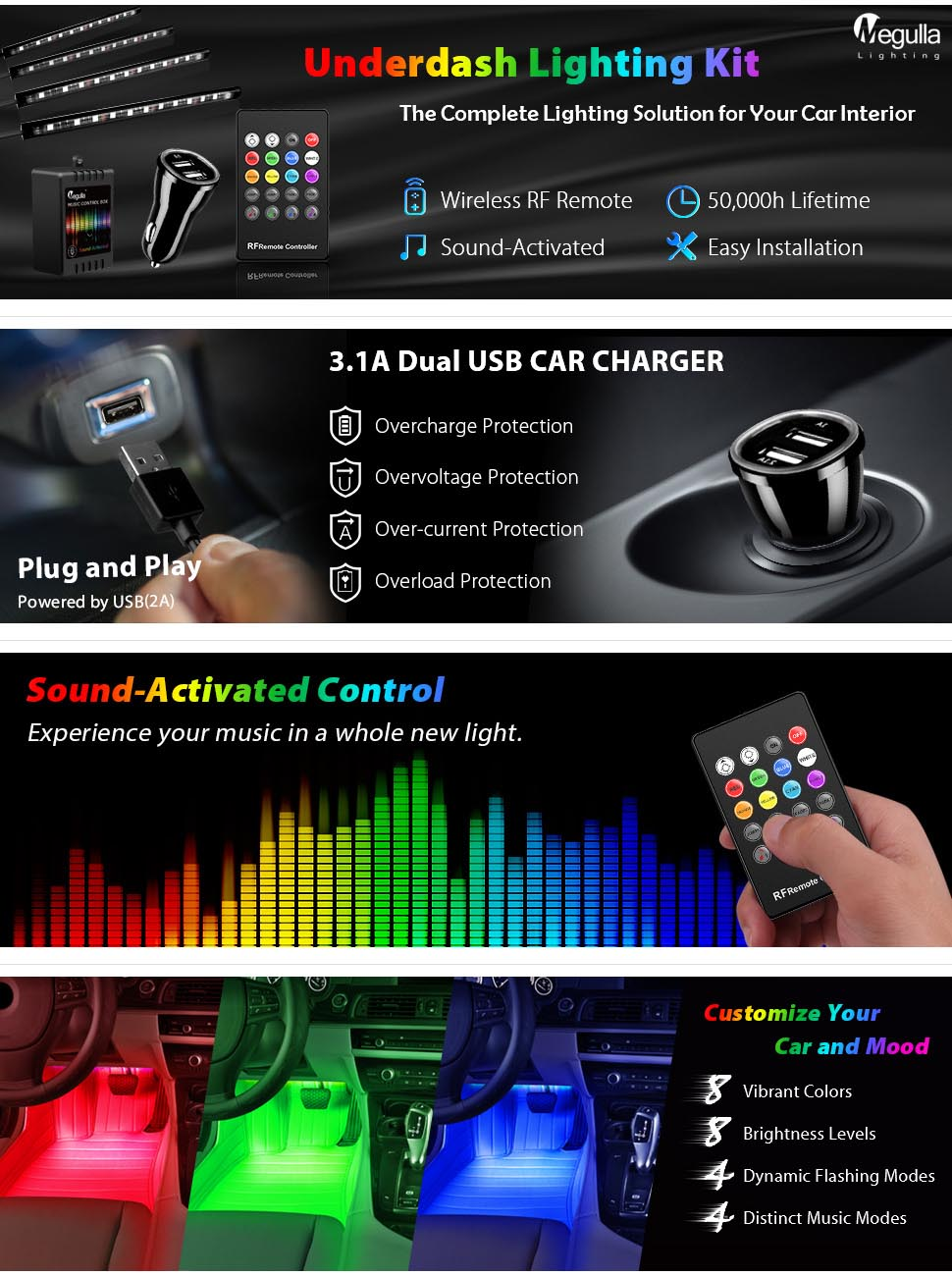 Underdash lighting kit megulla 4pc usb powered rgb multi color led car interior lights with for Interior car light laws california