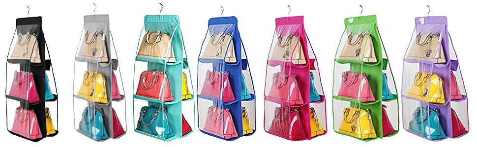 Santwo 6 Pocket Handbag Storage Clear Hanging Closet Bags Organizer Purse Holder Anti-dust Cover Shoes Save Space Shoe Bags