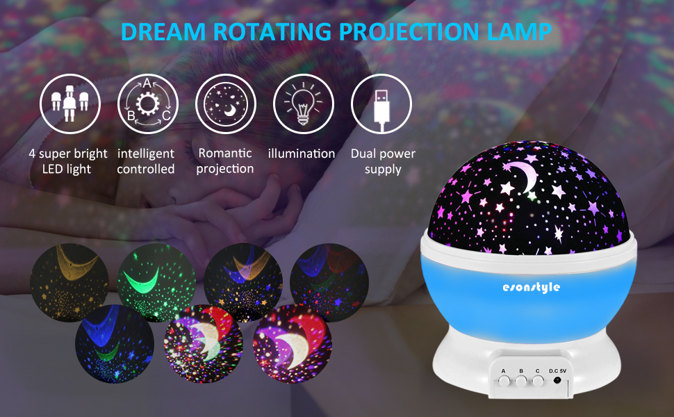 Esonstyle musical night light 360 rotating star lamp baby musical of the colorful stars onto your ceiling and walls with this new starlight projector base on rotating it creates a larger and more brilliant light show mozeypictures Choice Image
