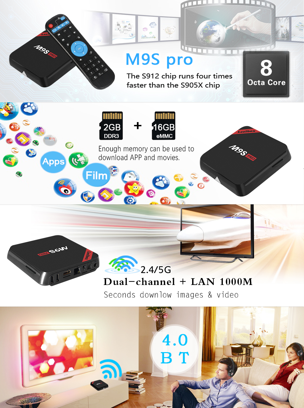 Leelbox M9S Pro Android 6 0 TV Box 64Bit S912 Octa-core CPU 2GB Ram+16GB  ROM Supporting 4K (60Hz) Full HD/H 265/2 4G+5G Dual-Band WiFi/BT 4 0/1000M