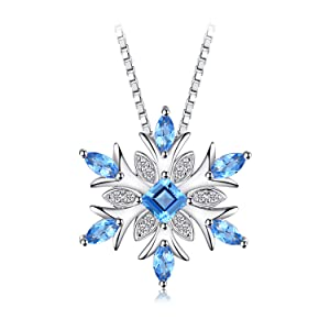 JewelryPalace Snowflake Genuine Swiss Blue Topaz Solid 925 Sterling Silver Pendant Necklace 18 Inches Box Chain rQeZMKA