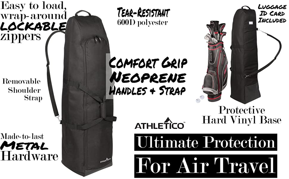 Athletico Executive PADDED Golf Travel Cover - Golf Club Travel Cover To Carry  Golf Bags And Protect Your Equipment On The Plane or During Transit e5f90782dc1a4