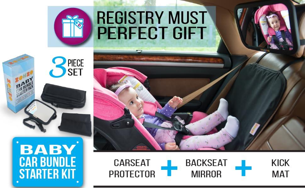 3 Piece Registry Must Baby Shower Gift Car Bundle Starter Kick Carseat Protector