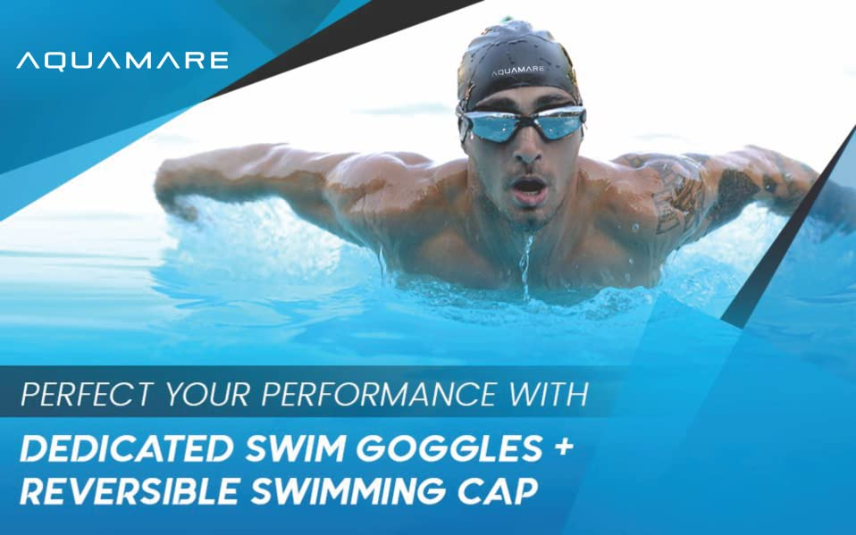 Swimming Goggles With Reversible Swim Cap Nose Clip Ear Plugs Protective Case Cleaning