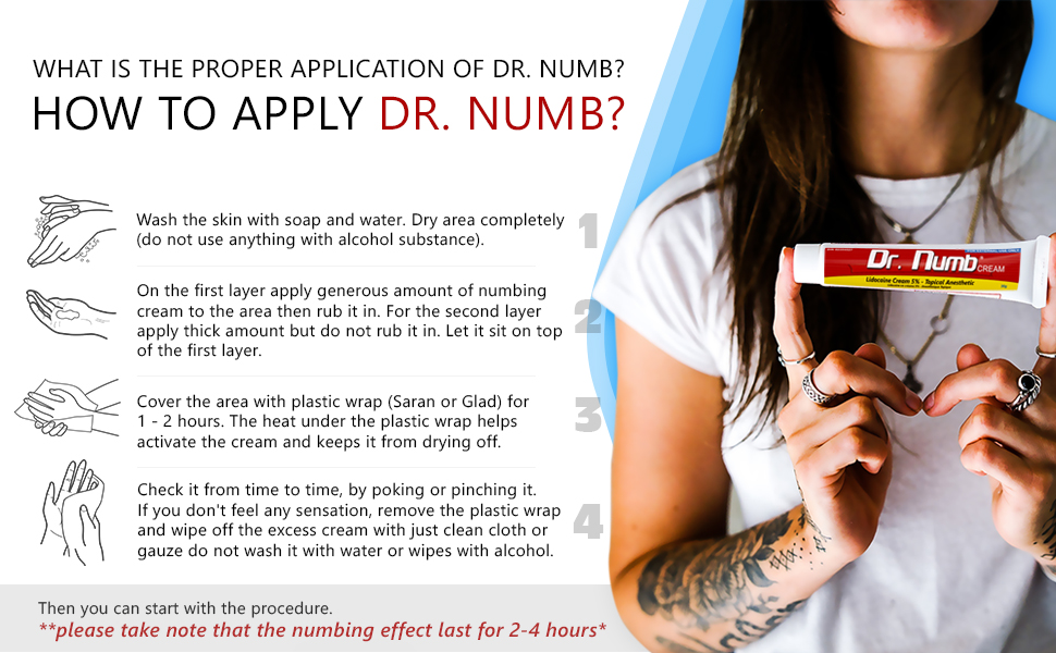 Dr  Numb Topical Numbing Cream | 5% Lidocaine Anesthetic Pain Relief Cream  for Tattoo, Piercing, Microblading, Microneedling, Dermarolling & Minor