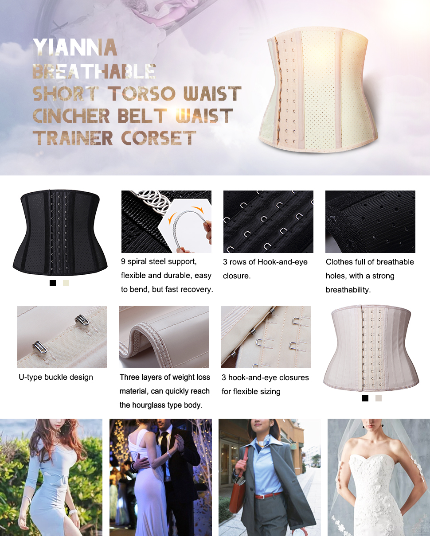 c14322a276 YIANNA Short torso Waist trainer corset for Weight loss Sports Workout  Hourglass Body Shaper Fat Burner