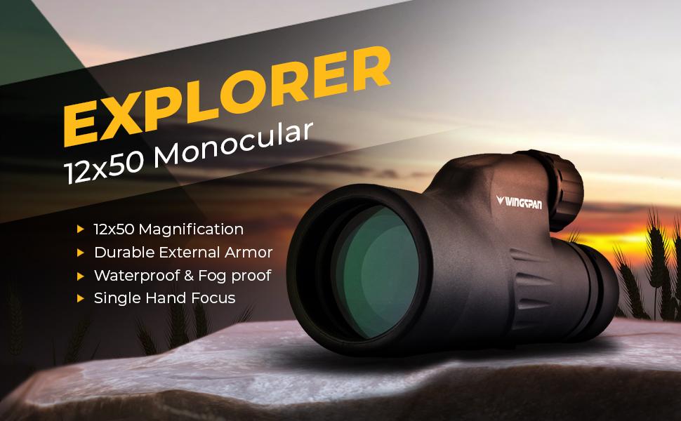 Wingspan optics explorer high powered monocular bright and