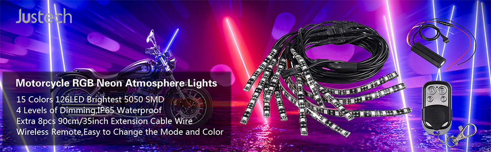 Justech 12pcs Motorcycle LED Light Kit 15 Colors Motorcycle Led Strip Lights SMD 5050 RGB 126LED Flexible Neon Atmosphere Light Strips Wireless Remote with 8pcs 90cm Extension Cable Wire