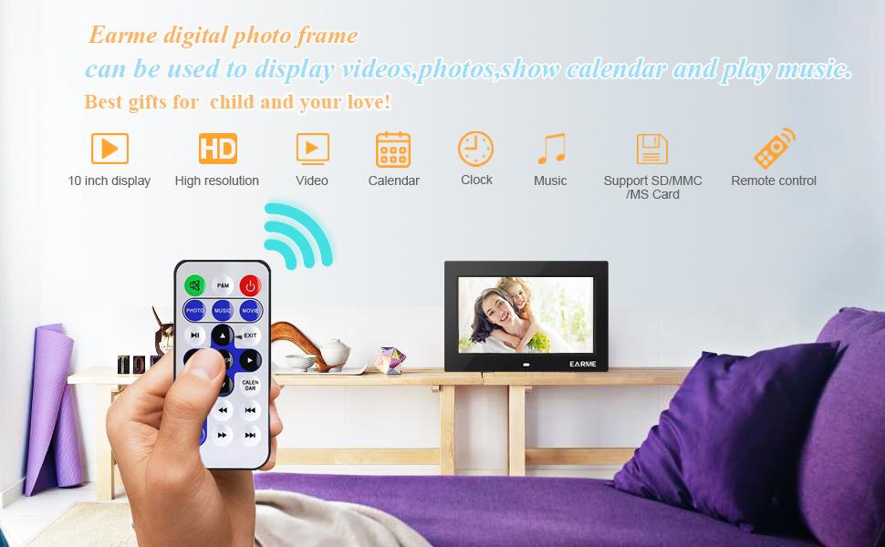 EARME 10-inch Digital Photo Frame 1024x600 720P with Multipurpose ...