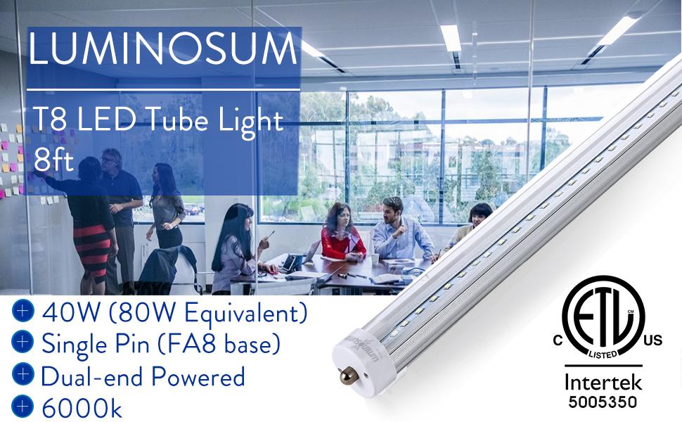 Luminosum 20 Pack T8 T12 Led Tube Light 8ft 40w Single