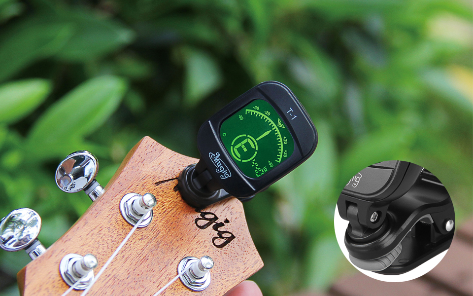 mugig guitar tuner clip on with lcd display calibrated pitch 360 degree rotating auto off. Black Bedroom Furniture Sets. Home Design Ideas