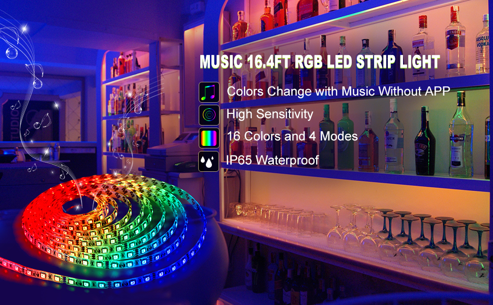 Led strip lights led lights sync to music 164ft5m led light music led strip lights are different from other ordinary strips it syncs with music and illuminates accordingly 5050 led rgb music lights create a mozeypictures Choice Image