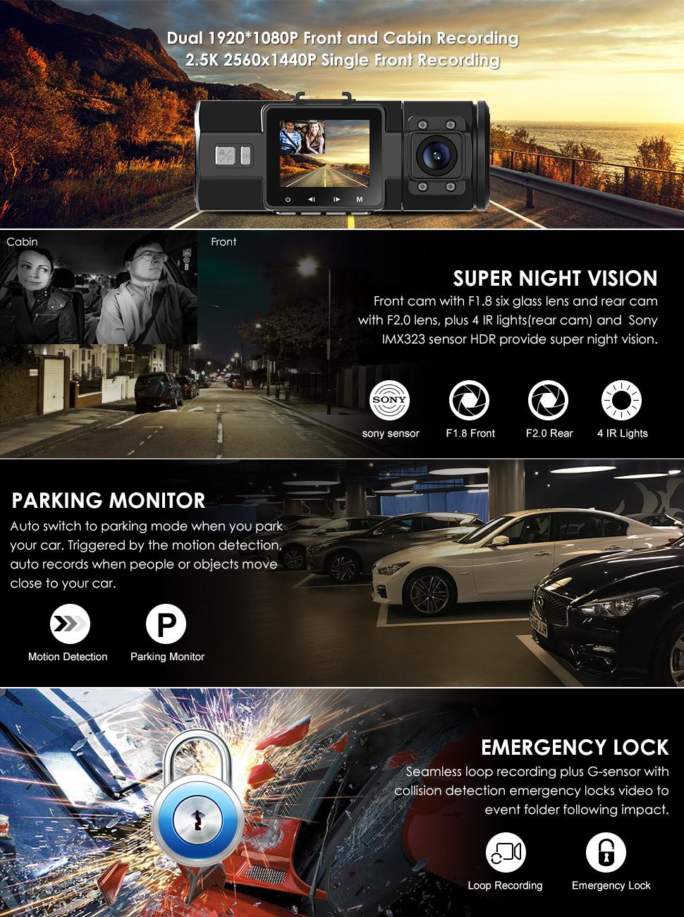 Vantrue N2 Pro Dual Dash Cam 25k 1440p 30fps 1080p 60fps Front Evo 8 Fuse Box Product Description