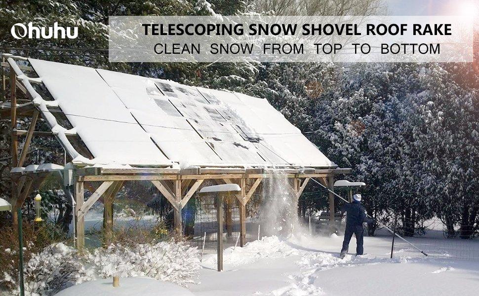 Ohuhu 21 Inch Twist N Lock Telescoping Snow Shovel Roof