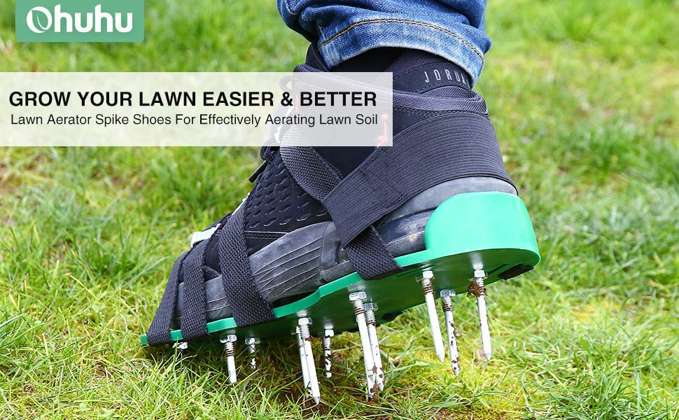 4 Adjustable Straps Aluminium Alloy Buckles /& 1 Heel Elastic Band Heavy Duty Spiked Sandals for Aerating Your Lawn Or Yard Ohuhu Lawn Aerator Shoes