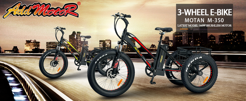Addmotor Electric Bicycle 24 Inch Fat Tire Electric Trike Three