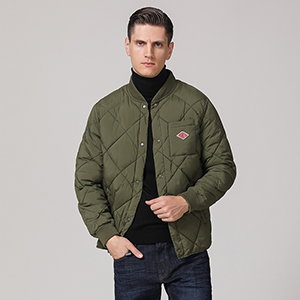 78bf9bbf2 Escalier Men's Quilted Diamond Bomber Jacket Warm Padded Puffer Outdoor Coat