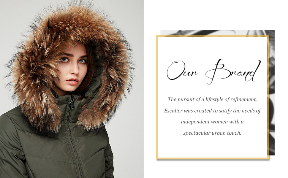 868abcf73d4 Escalier Women Down Coat Winter Jacket with Fur Hooded Long Puffer Parka