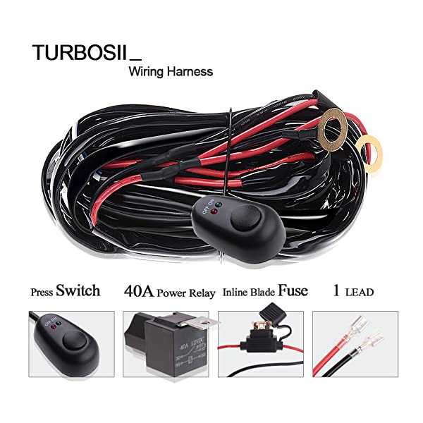 TURBOSII Offroad Led Work Light Bar Wiring Harness Kit 12V 40A Fuse on
