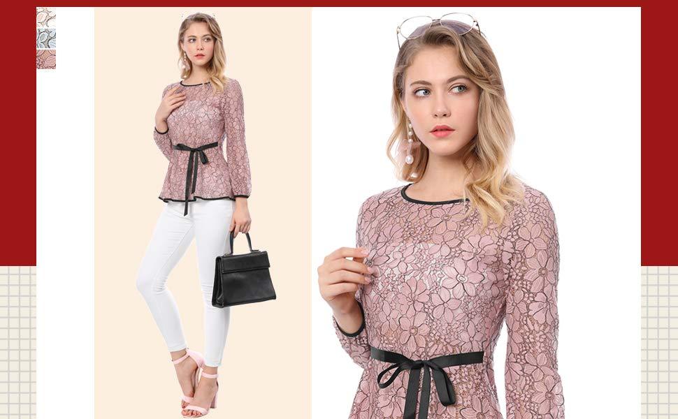 Allegra K Womens Tie Waist Formal Long Sleeve Semi Sheer Lace Peplum Top