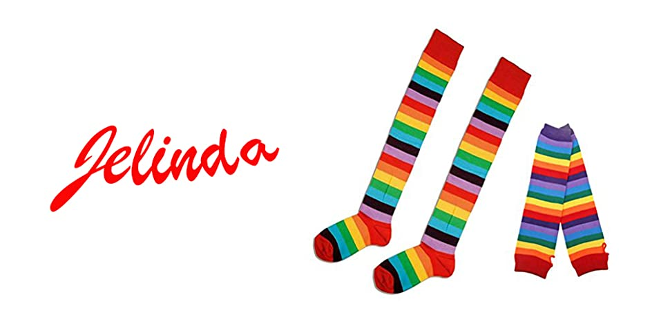 Jelinda/® Rainbow Fingerless Gloves Colorful Warmer Stripes Knit Gloves for Women