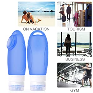 silicone travel bottles set suit for travel,business trip,outdoor and gym