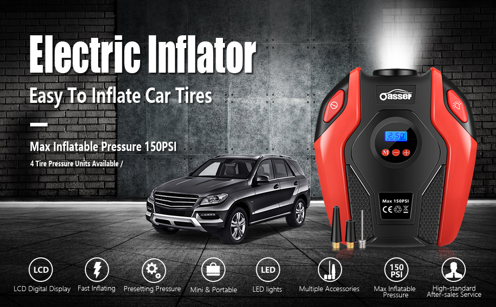 Air Compressor Oasser Tire Inflator Portable Air Inflator Pump Suitable for  Cars Bicycles Balls RV and Other Inflatables with LED Light Accurate
