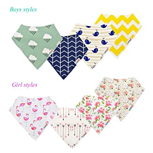 ALVABABY Bandana Drool Bibs Feeding Resuable for Boys/& Girls Floral 8 Pack of Super Absorbent Baby Gift Sets 8SD24