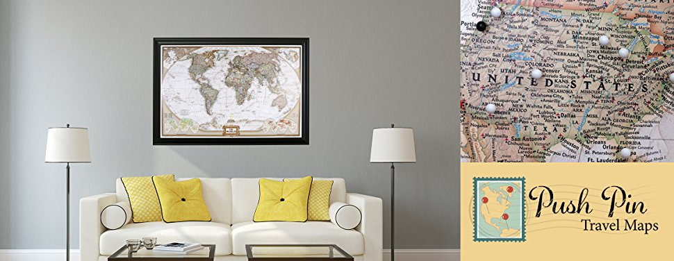 Executive World Push Pin Travel Map With Rustic Brown Frame And Pins - World map track your travels
