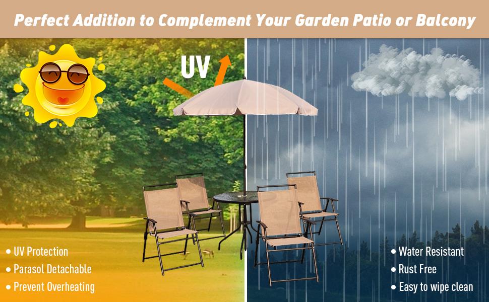 Outsunny 6Pc Patio Umbrella Set Garden Bistro Table Foldable Chairs Outdoor Furniture Cream-White