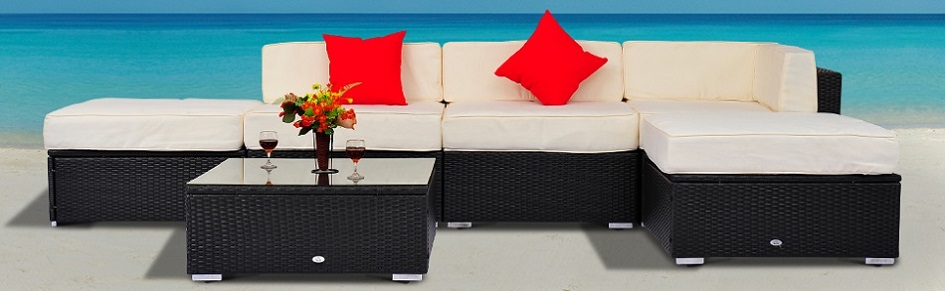 Outsunny 6pcs Deluxe Rattan Sofa Outdoor Wicker Sectional