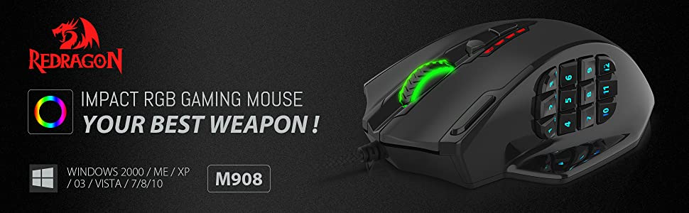 Redragon M908 Impact RGB Gaming Mouse, 12400 DPI Wired Laser MMO Mouse with  High Precision Actuation, 12 Macro Side Buttons and 16 8 Million
