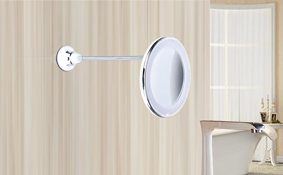 KEDSUM Flexible Gooseneck 68 10x Magnifying LED Lighted Makeup Mirror