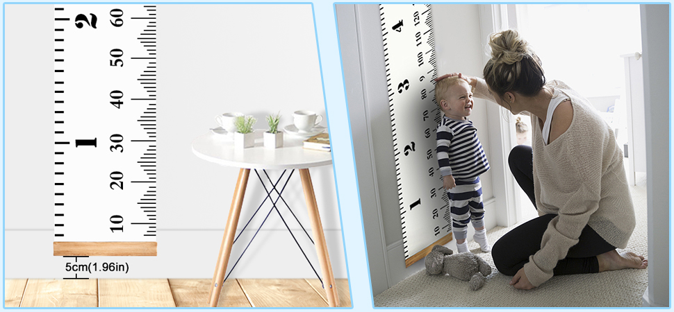 Baby Growth Chart Canvas Wall Hanging Measuring Rulers For Kids Boys