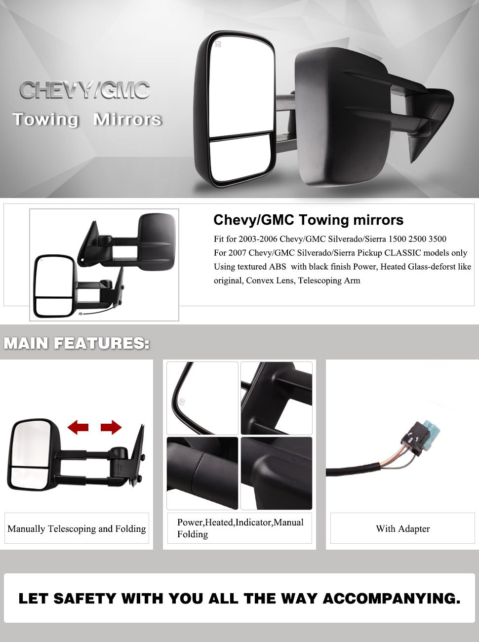 Towing Mirrors Yintatech Pickup Power Heated Pair Set Tow Gm Trailer Connector Wiring For 2003 2007 Chevy Silverado Gmc Sierra Truck