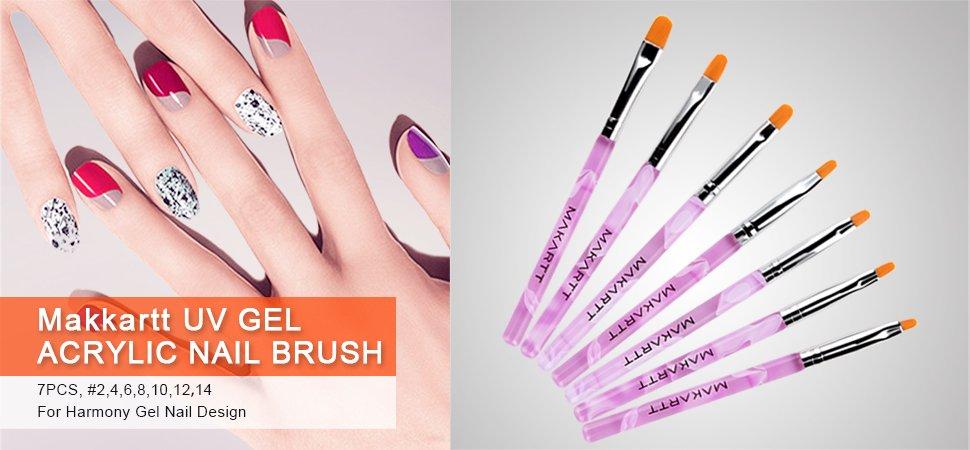 MAKARTT 7PCS Nail Art Brushes Set Acrylic UV Gel Nail Polish Brush ...