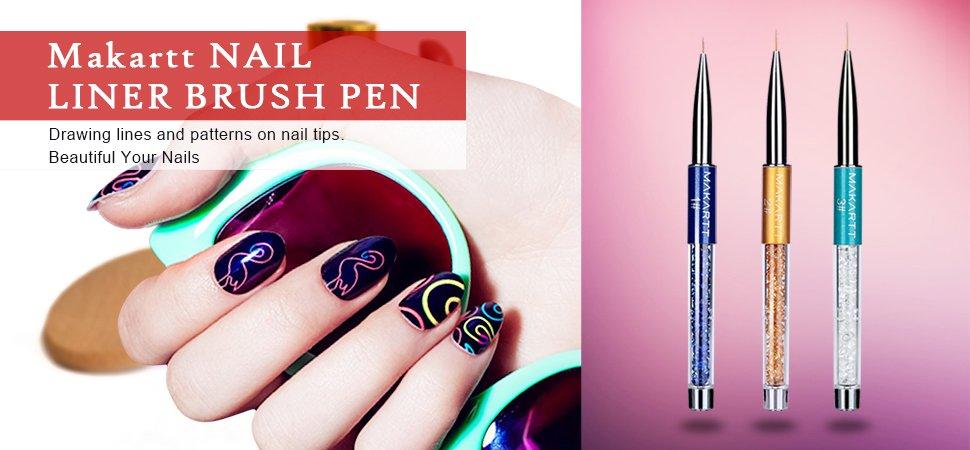 Makartt 3pcsset Nail Art Brushes Pen Rhinestone Diamond Metal