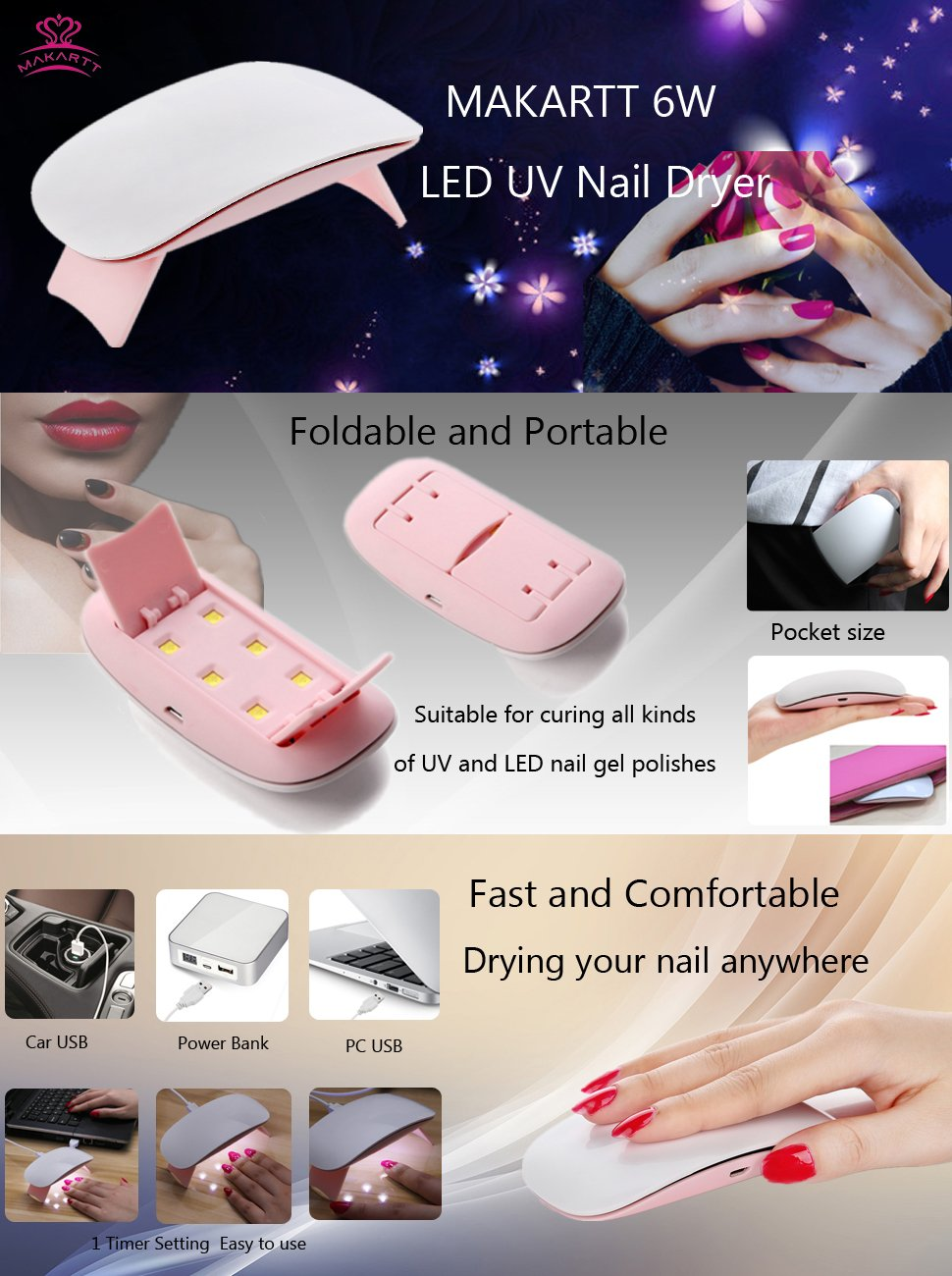Makartt 6w Led Uv Nail Lamp Manicure Pedicure Usb Nail