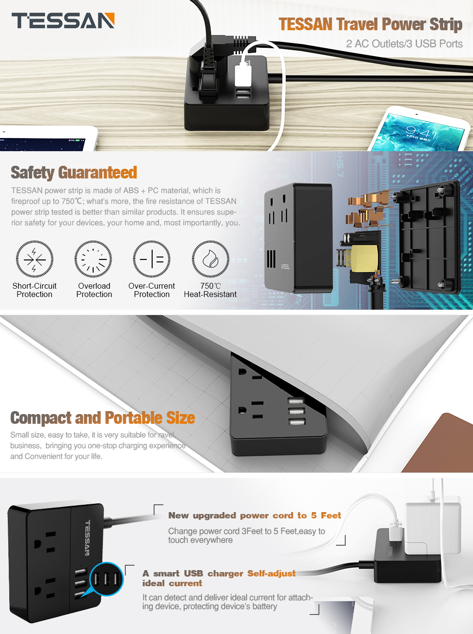 Portable Travel Power Strip 2 Outlet 3 Usb Charging15w 5 Foot Short Circuit Tessan With Ports Charging Station Ft Cord Black