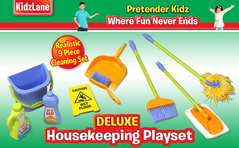 Durable Kids Cleaning Set With Pretend Play House Cleaning