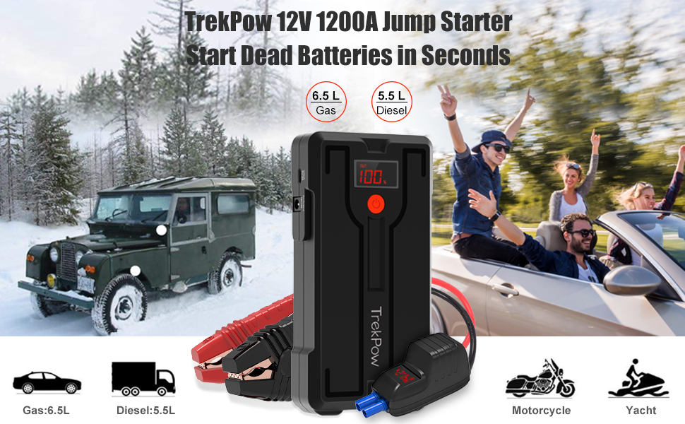 Car Jump Starter QC 3.0 Phone Charger Storage Case TrekPow G39 1200A Peak 12V Battery Jumper Starter Auto Booster Jump Pack Portable with Smart Jumper Cables up to 6.5L Gas//5.5L Diesel Engine