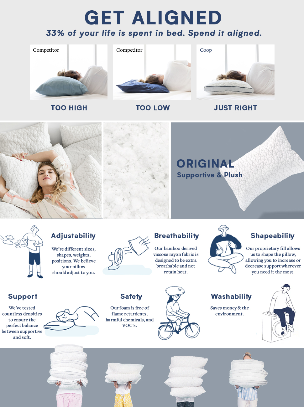 coop home goods premium adjustable loft shredded memory foam pillow with certipurus certified foam