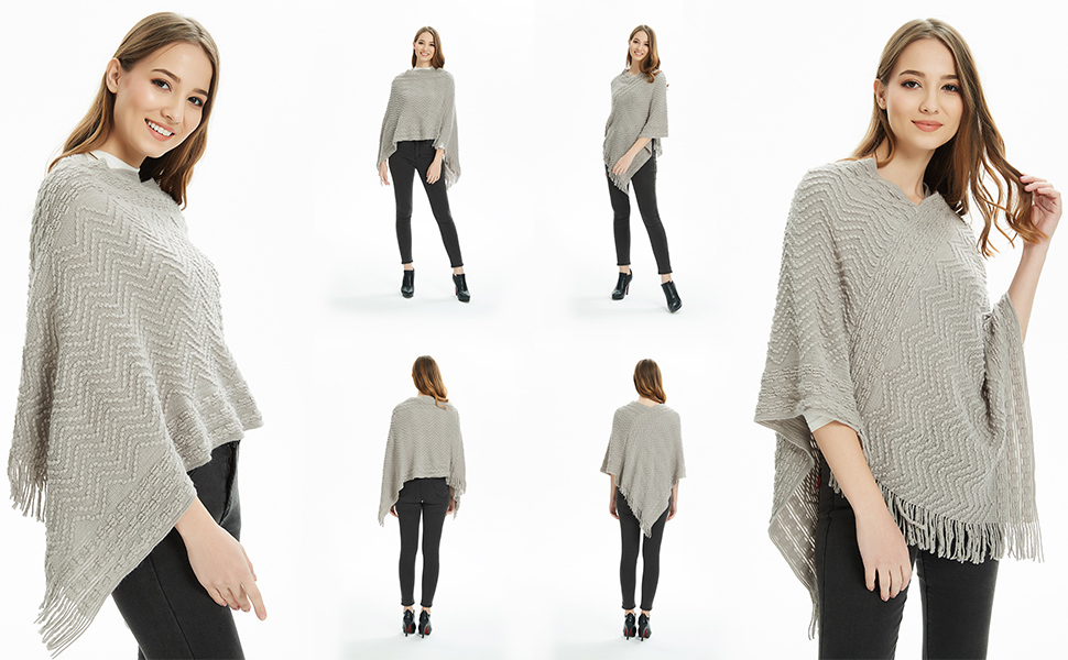 Cozy Chevron Stripes Poncho Sweater for Women