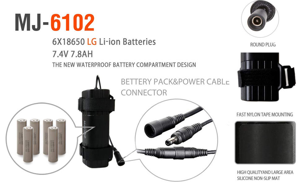 Magicshine MJ-6102 Li-ion Rechargeable 7.4V 7.8Ah Battery Pack Round connector